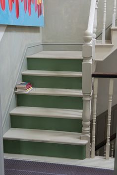 Possible solution for the stairway. // Stairs in Caulke Green Floor Paint: farrow & Ball. / Painted floors can look beautiful by using a single colour to complement your scheme. Painted Staircases, Painted Stairs, Painted Floors, Painted Floorboards, Spiral Staircases, Green Floor Paint, Dado Rail, Staircase Design, Staircase Ideas