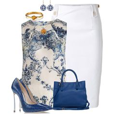 Blue, White, & Citrine by angelysty on Polyvore featuring Erdem, Moschino, Casadei, Alexis Bittar, Blue Nile, Balenciaga, print shirt, blue, pencil skirt and white skirt