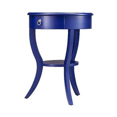 Edna 1-Drawer Accent Table ($210) ❤ liked on Polyvore featuring home, furniture, tables, accent tables, royal blue, one drawer table, top table, drawer shelves, table top shelf and inspire q furniture