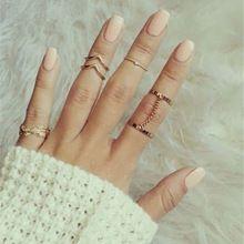 Mulheres 6 Pcs Urban Rhinestone acima Knuckle banda Mid jóias anéis empilhamento…