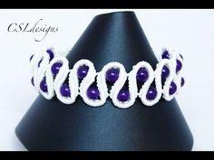 Beaded scalloped edge micro macrame bracelet - YouTube