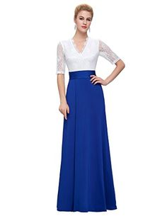 Women's Formal Dresses - GRACE KARIN Womens Vneck Lace Half Sleeve Long Split Evening Formal Dresses >>> See this great product.