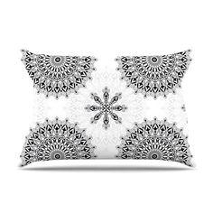 """Julia Grifol """"Black Mandala"""" White Black Pillow Sham, homedeco #pillow #kessinhouse  #black #mandala #geometric"""