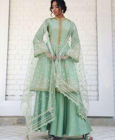 Pista green Chanderi silk A-line shirt w delicate gotta & tilla dori embroidery w soft tulle dupatta & silk sharara by rimple harpreet narula Pakistani Dresses, Indian Dresses, Indian Outfits, Anarkali, Lehenga, Sharara, Saree, Beautiful Suit, Beautiful Outfits