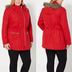 ⚡️Sale! Red Faux Fur Hooded Wool Coat Plus Size If you're going to bundle up, do it in style. This chic wool blend coat, shown in red, features a fluffy faux fur trimmed hood and interior drawstring waist. Fully lined and finished with a snap-button collar. 2 front pockets; 2 zip pockets Shell: 90% polyester, 10% wool; Lining/Filling: 100% polyester; Faux fur: 65% acrylic, 35% polyester Model wears size 1X Jackets & Coats