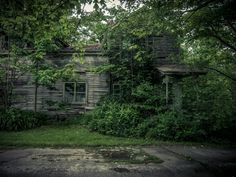 A house that Joo had previously photographed that has fallen into a hole collapsing in completely on itself. 'I feel that may be the final resting place of all of these, he adds. <br>All photographs: Johnny Joo/Barcroft Media