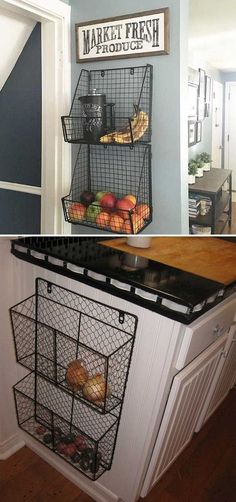 15 Insanely Cool Ideas for Storing Fresh Produce Attach wire baskets to the side of kitchen wall or cabinet. 15 Insanely Cool Ideas for Storing Fresh Produce Attach wire baskets to the side of kitchen wall or cabinet. Kitchen And Bath, Kitchen Dining, Kitchen Small, Kitchen Pantry, Kitchen Baskets, Organized Kitchen, Kitchen Hacks, Country Kitchen, Kitchen Redo