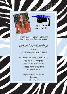 find the proper graduation etiquette suggestions for announcements and invitations for middle school 8th grade - 8th Grade Graduation Invitations