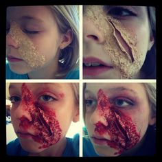 Liquid latex, toilet paper, foundation, holloween blood, easy to do