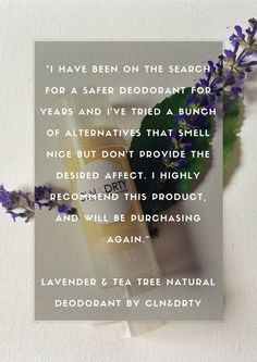 Lavender & Tea Tree  Natural Deodorant by CLNandDRTY on Etsy