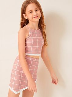 Girls Contrast Trim Grid Halter Top And Wrap Skirt Set – Kidenhome Cute Girl Outfits, Kids Outfits Girls, Cute Outfits For Kids, Girls Dresses, Young Girl Fashion, Preteen Girls Fashion, Kids Fashion, Steampunk Fashion, Gothic Fashion
