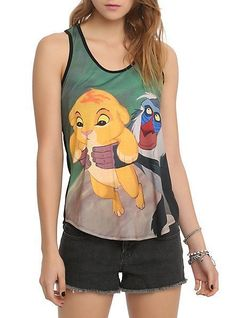 Women's Disney Lion King Simba Rafiki Racerback Tank Top Blouse Shirt Cami 2XL #Disney #TankCami