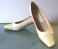 Vintage Etienne Aigner Made in Spain Bone & Lemon Pumps Size 10US by TheOldBagOnline on Etsy
