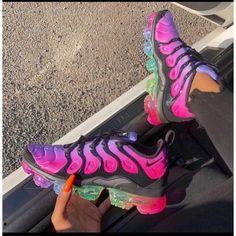 Nike Air Vapor Max Shoes Nike Air Vapor Max Be True Rainbow Sneakers . Nike Slides, Cute Sneakers, Sneakers Nike, Nike Trainers, Girls Sneakers, Souliers Nike, Sneakers Fashion, Fashion Shoes, Nike Fashion