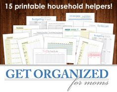 GET ORGANIZED for moms 15 PRINTABLEs Household Helpers, Meal Plan, Budget Sheets, Inventory Sheets, Important Inf. $34.99, via Etsy.