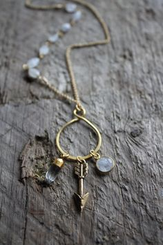 Gold Vermeil Boho Charm Necklace with Moonstone Accent