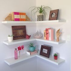 Corner floating shelves. DIY with the help of dad!