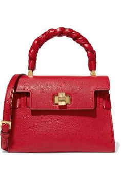 2234ca9f687b Red textured-leather (Goat) Twist lock-fastening front flap Weighs  approximately 1.5
