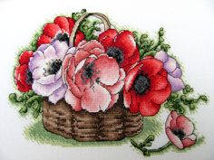 """Cross stitch design """"Basket with poppies"""" Designer – Zamorina Alexandra Artist – Catharina Klein The size of the embroidery: crosses (for canvas aida 14 Easy Cross Stitch Patterns, Small Cross Stitch, Cute Cross Stitch, Cross Stitch Heart, Cross Stitch Flowers, Cross Designs, Cross Stitch Designs, Embroidery Hoop Art, Cross Stitch Embroidery"""