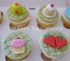 Afternoon Tea Fondant Cupcake Toppers - Handmade to order Uk by TheCakeTopCompany on Etsy https://www.etsy.com/listing/268264903/afternoon-tea-fondant-cupcake-toppers