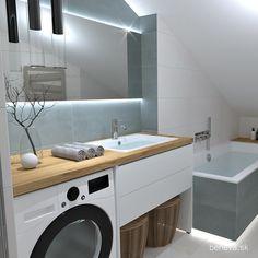 MALÉ KÚPEĽNE - Riešenia & Dizajn / BENEVA Stacked Washer Dryer, Washer And Dryer, Washing Machine, Bathroom Lighting, Home Appliances, Furniture, Home Decor, Bathroom Light Fittings, House Appliances