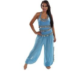 BellyDancer Costume Set | Harem Pants & Halter Top | Sadiqa II ❤ liked on Polyvore featuring costumes, belly dancer halloween costume, belly dance costume, white costume, white halloween costumes and white belly dance costume