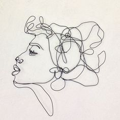 Kiss Profile of a woman with an overwhelming tuft of hair. This figurative wire…