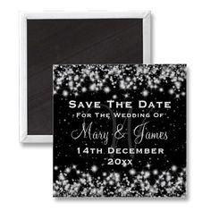 Elegant Wedding Save The Date Winter Sparkle Black Refrigerator Magnet $3.20