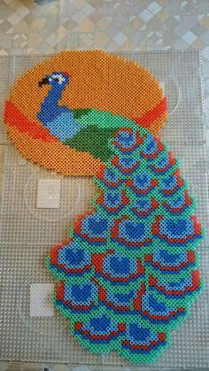 Påfugl Fuse Bead Patterns, Perler Patterns, Peyote Patterns, Loom Patterns, Beading Patterns, Seed Bead Flowers, Beaded Banners, Perler Bead Templates, Peler Beads