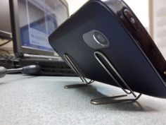 Make a DIY paper clip phone stand out of, well, paper clips
