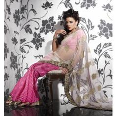 White and Pink color Net saree