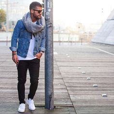 Denim jacket casual street style for men brought to you by Tom Maslanka 6a6328c49