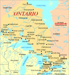 Ontario Canada Map With Cities