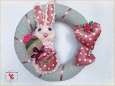 bunny fabric wreath ~ handmade by MelindaCrea