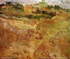 ☼ Painterly Landscape Escape ☼ landscape painting by Vincent van Gogh - Wheat Fields with Auvers in the Background