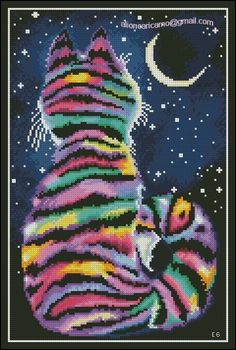 Love the colours but the whiskers need to be longer. Beaded Cross Stitch, Cross Stitch Embroidery, Cat Template, Free Cross Stitch Charts, Modern Cross Stitch Patterns, Embroidery Patterns Free, Cross Stitch Animals, Cat Pattern, Stitch Design
