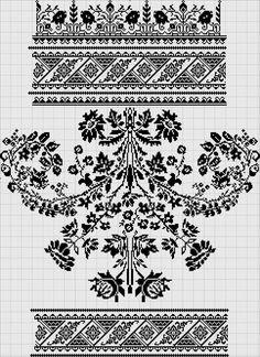 Cross Stitch Borders, Cross Stitch Designs, Cross Stitching, Cross Stitch Patterns, Knitting Patterns, Knitting Stitches, Border Embroidery Designs, Embroidery Motifs, Filet Crochet Charts