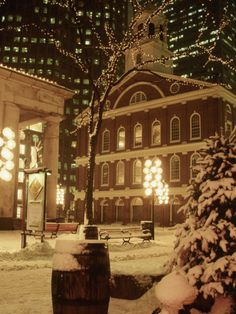 Faneuil Hall at Christmas with Snow, Boston, MA Photographic Print by James Lemass at Art.com