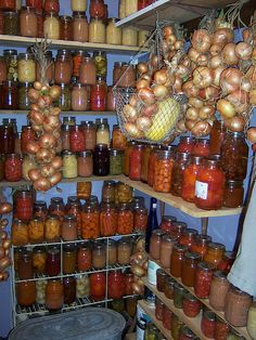 Vorratskammer mit Zwiebeln cellar 2006 harvest canned goods Canning Food Preservation, Preserving Food, Konservierung Von Lebensmitteln, Canned Food Storage, Onion Storage, Root Cellar, Wine Cellar, Home Canning, Larder