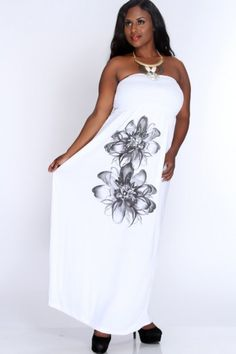 White Floral Print Strapless Maxi Dress AMI+