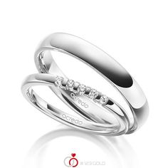 Set van acredo in wit goud 585 / – Afwerking: met extra ct. Platinum Wedding Rings, Diamond Wedding Rings, Rings N Things, Delicate Rings, Wedding Hairstyles, Engagement Rings, Jewelry, Vs, Diamonds