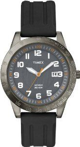 Timex Men's T2N919 Elevated Classics Gun Metal Case Resin Strap Watch Timex. $34.63. Mineral crystal. Quartz movement. Brass case with gunmetal finish and black dial. Water resistant to 50 M. Indiglo night-light