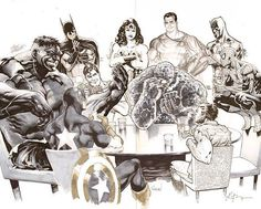 Collective Drawing Hulk by Eddy Barrows , Batman by Daniel HDR , Superman by Garcia Lopez , Wonder Woman by Breno Tamura , Shazam by Jack Herbert (me) , Daredevil by Rod Reis , The Thing by Joe Prado , Spider Man by Paulo Siqueira , Wolverine by Andrei Bressan and Captain America by Robson Rocha