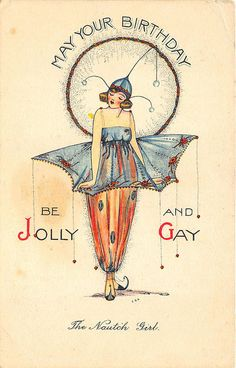 """The Notch Girl"" May Your Birthday Be Jolly and Gay Postcard"