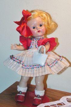 "HTF VOGUE Strung 1951 Ginny Doll 8"" Hard Plastic ""CONNIE"" #25 w/STAPLED HAIR BOW #HARDPLASTICGINNYSLEEPEYE"