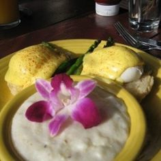 My favorite breakfast dish from Tupelo - grits with goat cheese (flower is edible, btw)