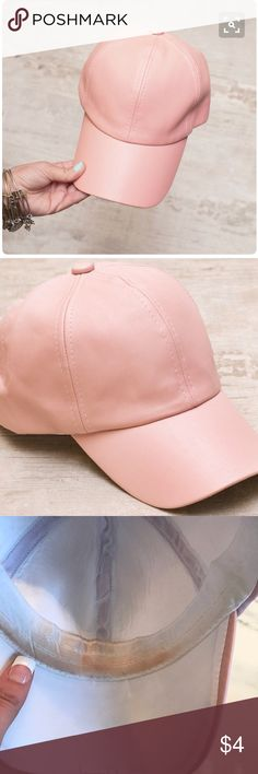 SOLID FAUX LEATHER CAP IN PASTEL PINK SOLID FAUX LEATHER CAP IN PASTEL PINK makeup stains inside Accessories Hats
