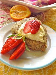 Strawberry Oat Scones with Quick Orange Clotted Cream by Breakfast to Bed