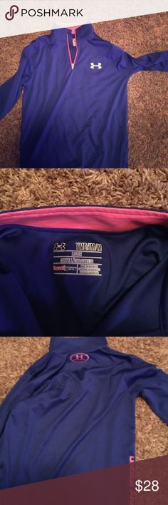 Youth Under Armour pullover Youth Long sleeve pull over with 1/4 zip front. Blue with pink lettering. Under Armour Shirts & Tops Sweatshirts & Hoodies