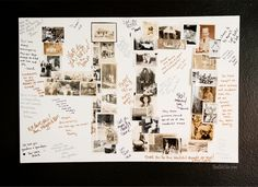 Anniversary Photo Collage ~ This is a great anniversary party gift idea for parents, grandparents and friends. Make a photo collage out of the number of years the couple is celebrating and have everyone sign! #ModPodge